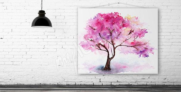 Obraz strom višeň akvarel