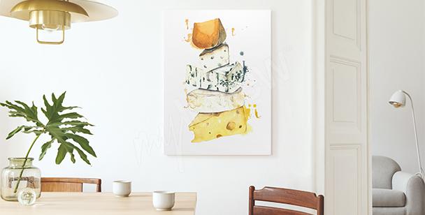 Obraz sýr v akvarelu