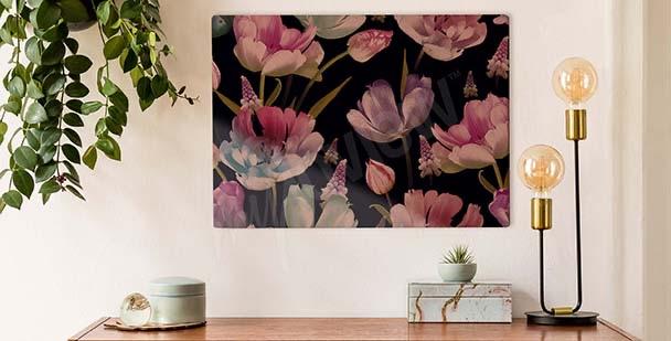 Obraz tulipány na tmavém pozadí