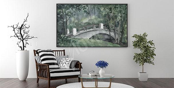 Obraz v obývacím pokoji most