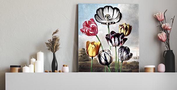 Obraz vintage s tulipány