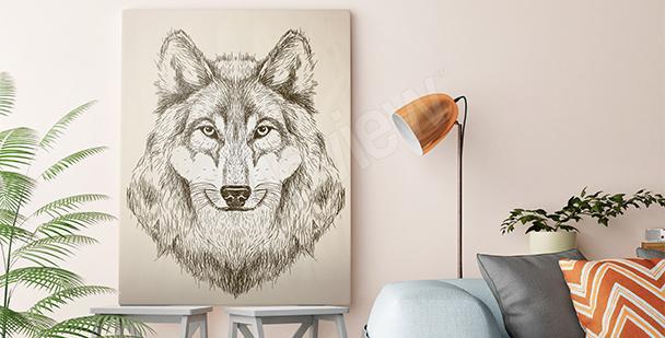 Obraz vlk v černé a bílé