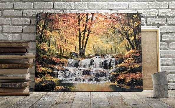 obraz vodopád na podzim