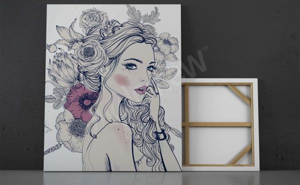 obraz ženy s květy ve vlasech