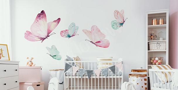 Pastelová nálepka motýli