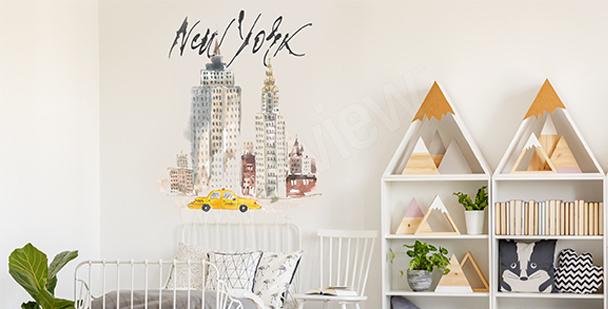 Pastelová nálepka New York