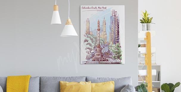 Pastelový obraz New York