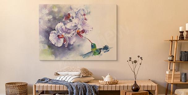 Pastelový obraz orchidej