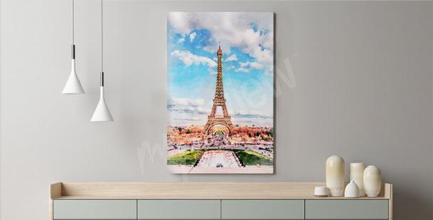 Pastelový obraz Paříž