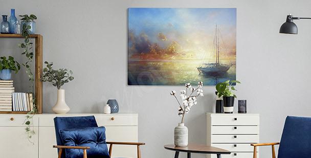 Pastelový obraz s loďkou