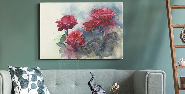 Pastelový obraz s růžemi