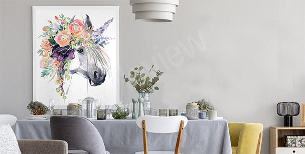 Pastelový plakát s jednorožcem
