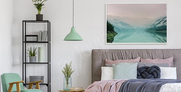 Pastelový plakát s pohledem na jezero