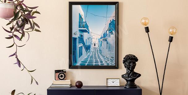 Plakát architektura na ostrově Mykonos