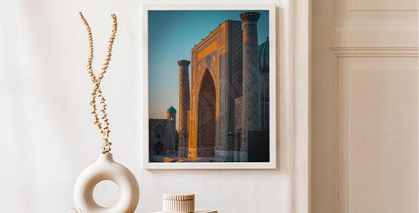 Plakát architektura v Uzbekistánu