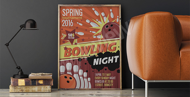 Plakát bowlingový turnaj