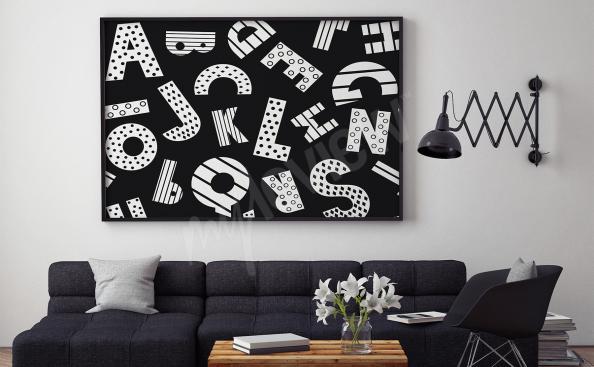 Plakát černobílá abeceda