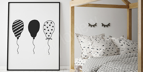 Plakát černobílé balóny