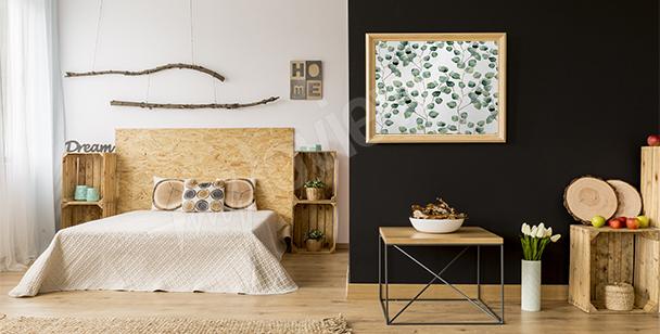 Plakát do ložnice s listím