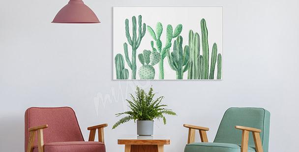 Plakát do předsíně kaktusy