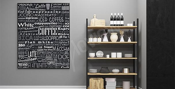 Plakát druhy kávy