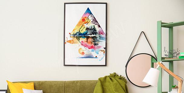Plakát hory v akvarelu