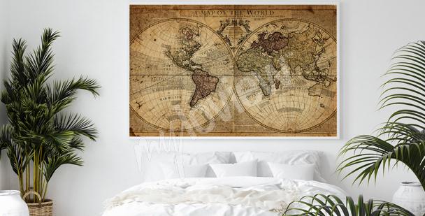 Plakát kartografie do ložnice