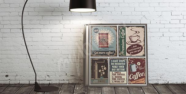 Plakát káva styl retro