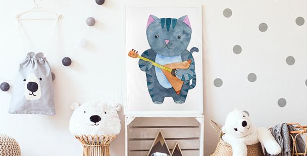 Plakát kočka muzikant do dětského pokoje
