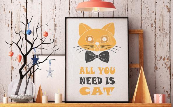 Plakát kočka - nápisy