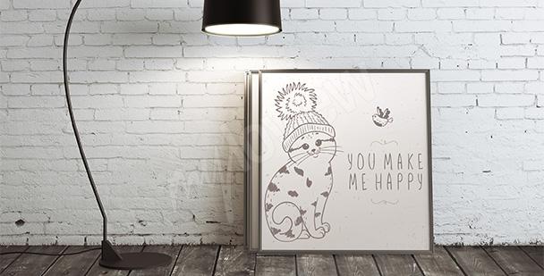 Plakát kočka v čepici