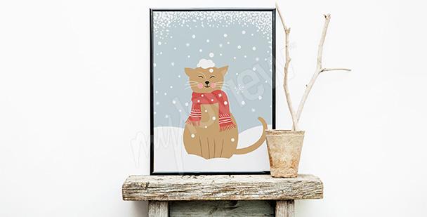 Plakát kočka ve sněhu