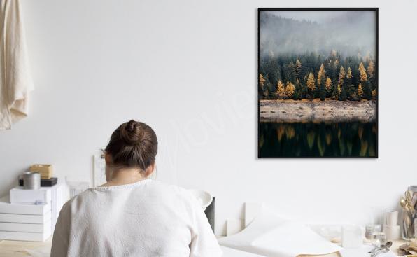 Plakát les u jezera