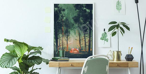 Plakát les v noci