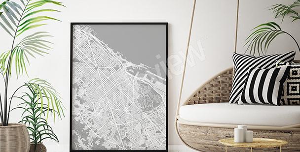 Plakát mapa Barcelony