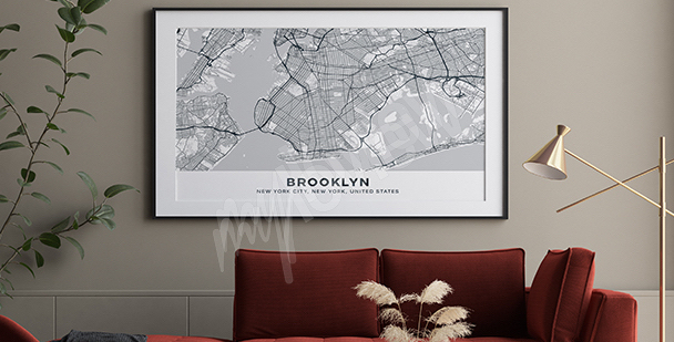 Plakát mapa Brooklynu