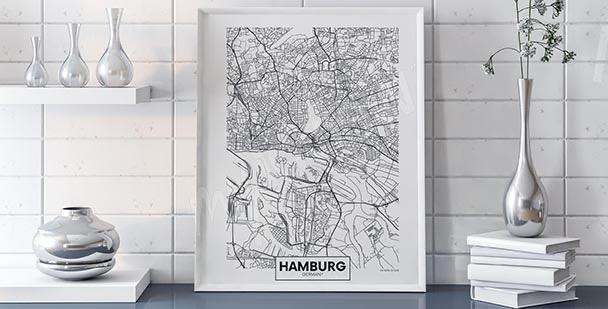Plakát mapa Hamburku