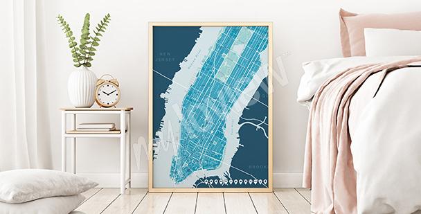 Plakát mapa horního Manhattanu