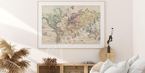 Plakát mapa v retro stylu
