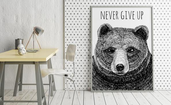 Plakát medvěd v obývacím pokoji