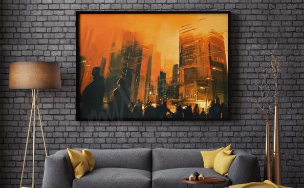 Plakát města v noci