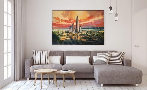 Plakát města v obývacím pokoji