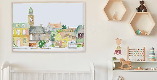 Plakát město v akvarelu