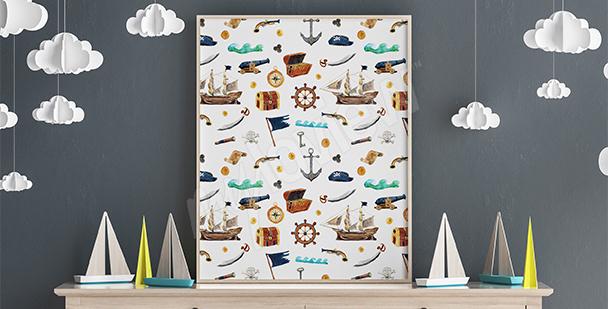 Plakát pirátský vzor pro chlapce