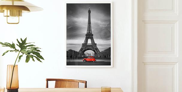 Plakát pohled na Eiffelovu věž