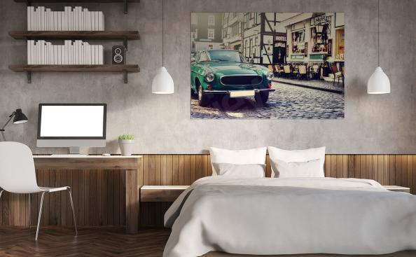 plakát s autem vintage