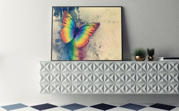 Plakát s duhovým motýlem