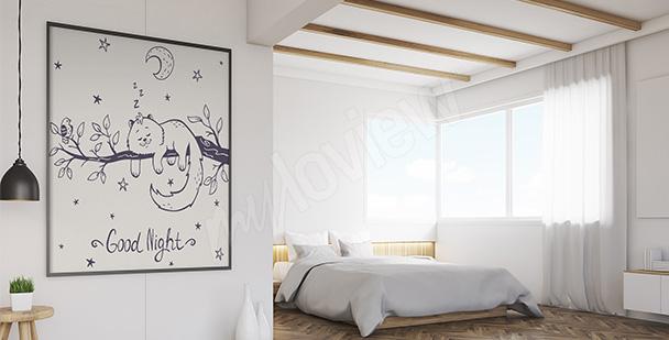 Plakát s kočkou do ložnice