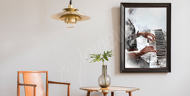 Plakát s pianistou do obývacího pokoje