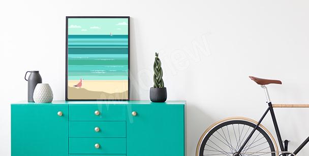 Plakát s rackem na pláži